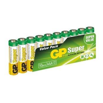 GP Super Alkaline 10ks, 1013100102, baterie, AAA, mikrotužkové, 1,5V