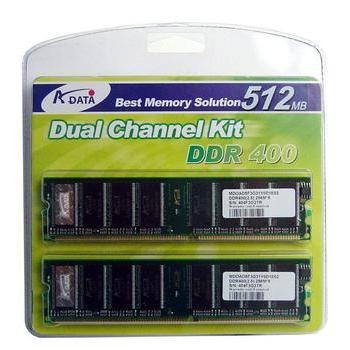 A-DATA DIMM 1GB (2x512MB KIT) DDR 400MHz PC3200, , retail, 2 paměťové moduly
