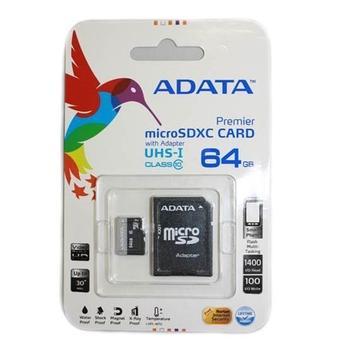 A-DATA Micro SDXC 64GB + SD adaptér, AUSDX64GUICL10-RA1, paměťová karta, Class 10, včetně SD adaptéru