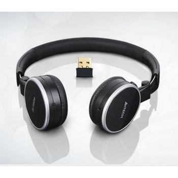 A4TECH RH-300, RH-300, stříbrno-černé, bezdrátová sluchátka, s mikrofonem, USB, skládací