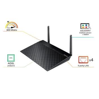 ASUS DSL-N12E, 90IG0101-BM3000, ADSL router, Router, ADSL modem, AP, 2,4 GHz, až 300Mbps, 4xLAN, 1xWAN, NAT, DHCP server