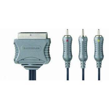BANDRIDGE BN-BVL5602 SCART-CINCH kabel 1.5m, BN-BVL5602, propojovací, SCART, 1,5m, Scart (M), ->3x cinch (M)