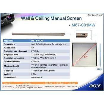 """ACER M80-S01MW, MC.JBG11.002, projekční plátno, 64""""x64"""" (1/1) 80"""" (4/3), matné, bílé"""