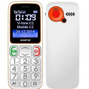 ALIGATOR A320 Senior Dual SIM, A320WO, bílo-oranžový (white/orange), mobilní telefon pro seniory, 128x160, microSD, Foto 1,3Mpx, Dual SIM