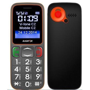 ALIGATOR A320 Senior Dual SIM, A320GO, šedo-oranžový (grey/orange), mobilní telefon pro seniory, 128x160, microSD, Foto 1,3Mpx, Dual SIM