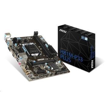 MSI H81M-P33 PLUS, H81M-P33 PLUS, základní deska, socket 1150, Intel H81, DualCH. DDR3, PCIe 2.0, GLAN, 4xUSB 2.0, 2x USB 3.1, 8ch audio, mATX