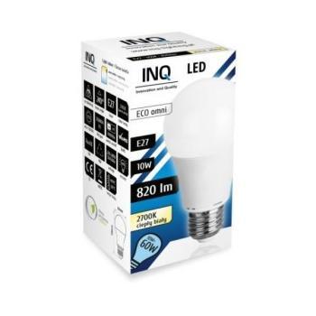 INQ IN714579 A60, IN714579, teplá bílá, LED žárovka, 10W, E27, 2700K, 230V