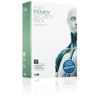 ESET Family Security Pack, RETAIL, antivirový program pro studenty a domácnosti - nekomerční použití, ochrana 3 počítače a 3 mobilní zařízení na 12 měs.
