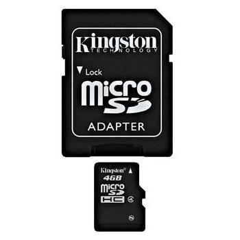 KINGSTON microSDHC 4GB, SDC4/4GB, paměťová karta, Class 4, včetně SD adaptéru