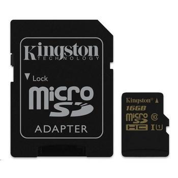KINGSTON microSDHC UHS-I 16GB, SDCA10/16GB, paměťová karta, Class 10, včetně SD adaptéru