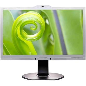 """PHILIPS 241P6QPJKES, 241P6QPJKES/00, stříbrno-černý, 23,8"""" LED monitor, 16:9, S-IPS, 20.000.000:1, 5ms, 250cd/m2, 1920x1080, LED, D-SUB, DVI, HDMI, DisplayPort, repro, USB HUB, Pivot"""