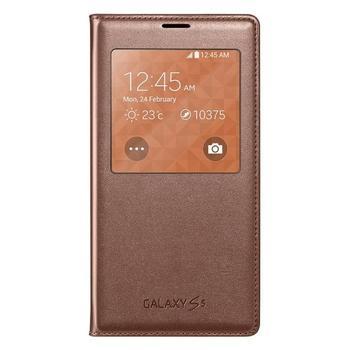 SAMSUNG EF-CG900BF S-View, EF-CG900BFEGWW, hnědá, flipové pouzdro pro Samsung Galaxy S5 (SM-G900)