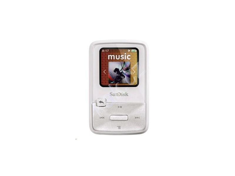 49546d457 Přenosný MP3 přehrávač SANDISK Sansa Clip Zip 4GB, bílá (white)