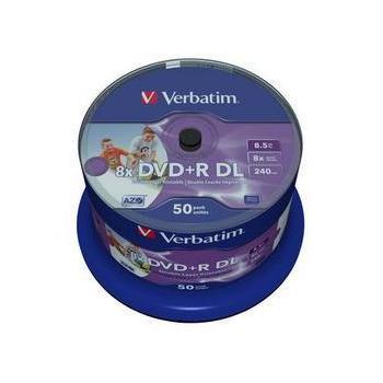 VERBATIM DVD+R 8x, 43703, DVD+R médium, Thermal Printable, 8,5GB, 50ks CakeBox