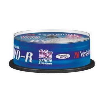 VERBATIM DVD-R 16x DatalifePlus, 43538, Printable, 25ks cakebox, DVD-R médium, 4,7GB