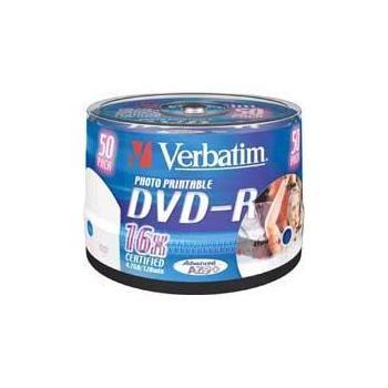 VERBATIM DVD-R 16x DatalifePlus, 43533, Printable, 50ks cakebox, DVD-R médium, 4,7GB