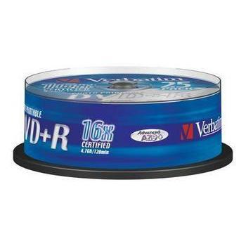 VERBATIM DVD+R 16x DataLifePlus, 43539, Printable, 25ks cakebox, DVD+R médium, 4,7GB