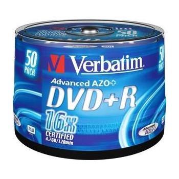 VERBATIM DVD+R 16x DataLifePlus, 43550, matt silver, 50ks cakebox, DVD+R médium, 4,7GB