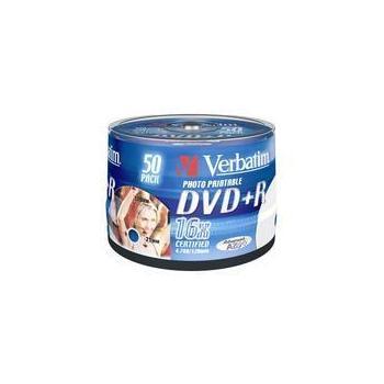 VERBATIM DVD+R 16x DataLifePlus, 43512, Printable, 50ks cakebox, DVD+R médium, 4,7GB