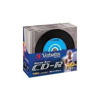 VERBATIM CD-R 48x Data Vinyl, 43426, Color, 10ks slim krabička, CD-R médium, 80min/700MB