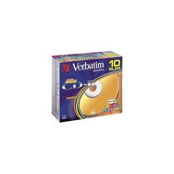 VERBATIM CD-R 48x DataLifePlus Super Azo, 43308, color, 10ks slim krabička, CD-R médium, 80min/700MB
