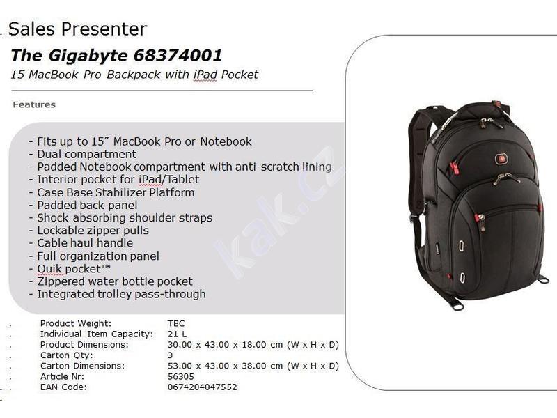 011539f121 WENGER brašna na notebook Wenger Gigabyte 15 Macbook Backpack 15