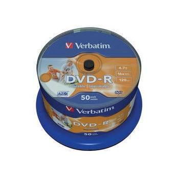 VERBATIM DVD-R 16x Wide Inkjet Printable ID Brand, 43649, DVD-R médium, Inkjet Printable, 16x, 4,7GB, 50ks CakeBox