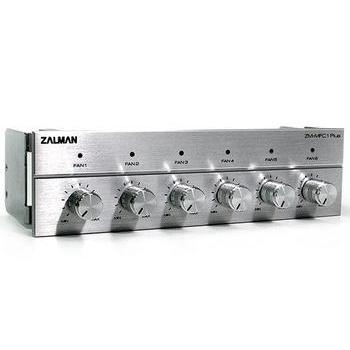 """ZALMAN ZM-MFC1 Plus, ZM-MFC1 Plus Silver, stříbrný (silver), panel do 5,25"""" pozice, 6x ruční regulace otáček, Alu panel"""